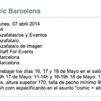 Wanted, Brunettes With Overly Specific Bust Size To Work Barcelona Comic Con