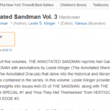 Amazon Glitchwatch – Annotated Sandman Vol 3 61% Off Six Months Before It Goes On Sale