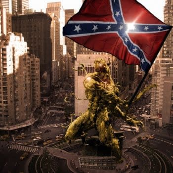 A Gold Statue Of Carnage Wielding The Confederate Flag In The Middle Of Liberal New York City