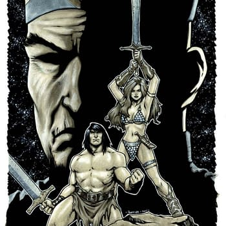 Process Art For Comic Blocks Exclusive Red Sonja / Conan Cover