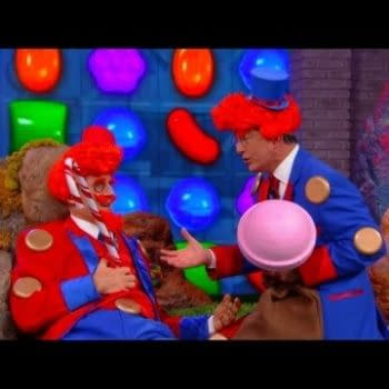 Stephen Colbert And Liam Neeson Act Out The Candy Crush Movie