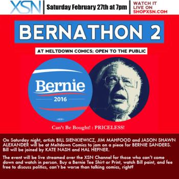 Bill Sienkiewicz Draws Bernie Sanders On A T-Shirt, With Kate Nash At Meltdown Comics
