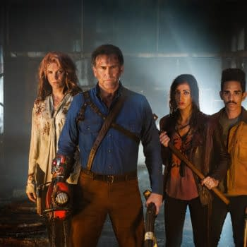 Lucy Lawless, Bruce Campbell,, Dana DeLorenzo, and Ray Santiago in Ash vs. Evil Dead. Image courtesy of Lionsgate