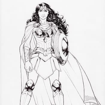A pencilled image of Wonder Woman standing strong with her shield and a cape.