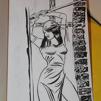 Someone's drawing of Electra with a Kendo sword raised.