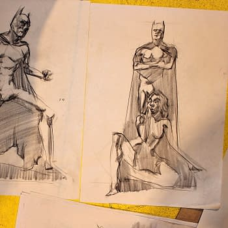 Batman and Catwoman drawings