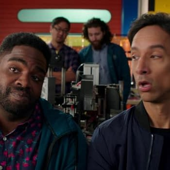 Danny Pudi And Ron Funchess From Powerless Pit Blue Beetle Vs The Elongated Man