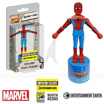 Spider-Man Wooden Push Puppet Swinging into SDCC