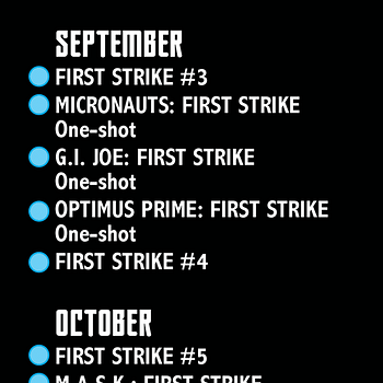 First Strike #0 Checklist From IDW And Hasbro &#8211 The Launch Of GI Joe Unmasked Rom &#038 The Micronauts And Something Classified For December
