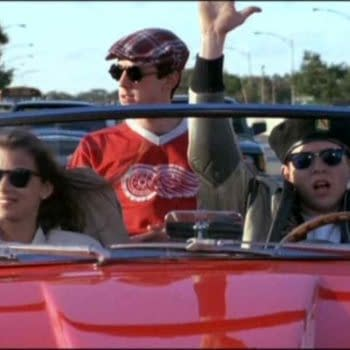 Mia Sara as Sloane, Alan Ruck as Cameron and Matthew Broderick as Ferris in Ferris Bueller's Day Off (1986). Image courtesy of Paramount Pictures.