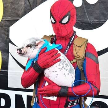 Being Spider-Man And Holding A Pig At San Diego Comic-Con