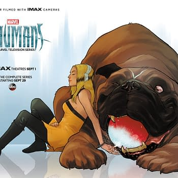 Karl Kerschl Draws Crystal And Lockjaw For Marvels Inhumans Exclusive IMAX Poster