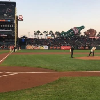 Axel Alonso And Stan Lee At Last Night's Giants Vs Diamondbacks Baseball Game