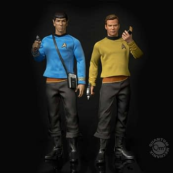 Posing Captain Kirk And Mr. Spock 1/6th Scale Figures