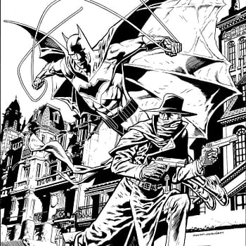 Kevin Nowlan Shares His Process Art For The Shadow/Batman #4 Cover