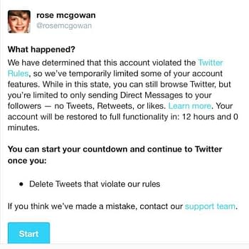 (UPDATED) Twitter Suspends Rose McGowan Account Twitter Responds