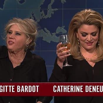Kate McKinnon Cecily Strong Skewer Brigitte Bardot Catherine Deneuve in #MeToo Segment on SNLs Weekend Update