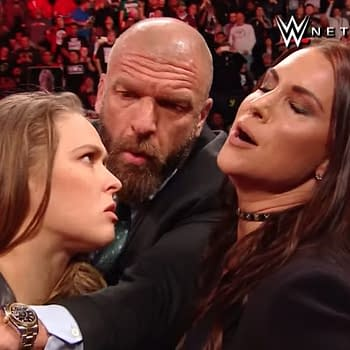 Triple H Stephanie McMahon and Kurt Angle Welcome Ronda Rousey