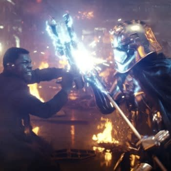 John Boyega as Finn and Gwendoline Christie as Captain Phasma in Star Wars: The Last Jedi (2017). Image courtesy of Lucasfilm