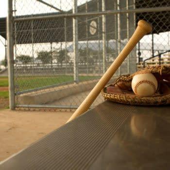 Baseball Glove, Ball, and Bat in Dugout -- David Lee/Shutterstock.com