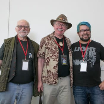 Chris Claremont, Brent Anderson, and moderator Marcos