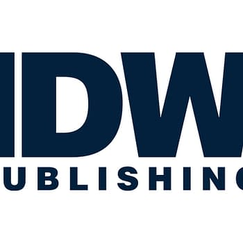 The logo for IDW Publishing is, despite all appearances, not a trash can on fire.