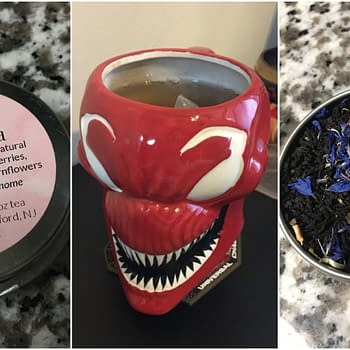 Nerd Food: Spidey Tea from Nerdfelt Tea (in a Carnage Mug)