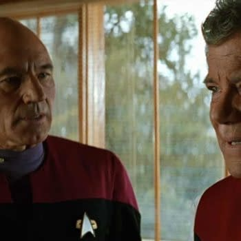 Patrick Stewart as Capt. Jean Luc-Picard and William Shatner as Capt. James T. Kirk in Star Trek: Generations (1994). Image courtesy of Paramount