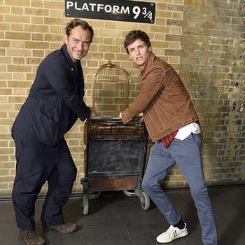 Jude Law Eddie Redmayne at Kings Cross Station for #BackToHogwarts