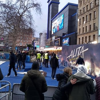 Freezing Cold Turns Red Carpet Blue at Alita Battle Angel World Premiere in Londons Leicester Square
