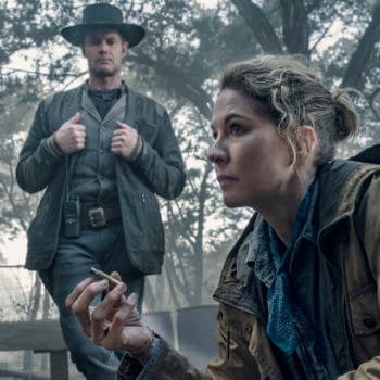 Jenna Elfman as June, Garret Dillahunt as John Dorie- Fear the Walking Dead _ Season 5, Episode 2 - Photo Credit: Ryan Green/AMC