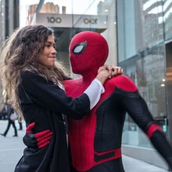 "MJ (Zendaya) catches a ride from Spider-Man (Tom Holland) in ""Spider-Man: Far From Home."" (Photo: JOJO WHILDEN)"
