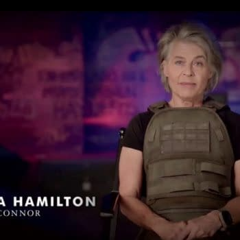 A Little BTS from 'Terminator: Dark Fate' With Hamilton, Miller, Cameron, and More