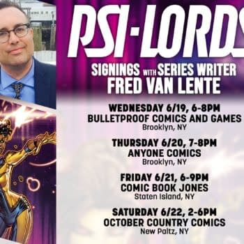 Fred Van Lente Visits New York Comic Shops to Promote Valiant's Psi-Lords