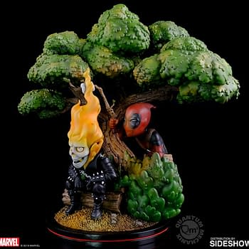 Deadpool Goes Camping with Ghost Rider in New Q-Master Statue