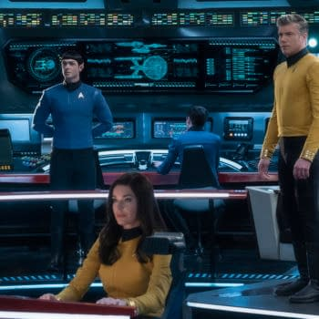 """Q&A"" -- Episode SF #007 -- Pictured (l-r): Ethan Peck as Spock; Rebecca Romijn as Number One; Anson Mount as Captain Pike of the the CBS All Access series STAR TREK: SHORT TREKS. Photo Cr: Michael Gibson/CBS ©2019 CBS Interactive, Inc. All Rights Reserved."