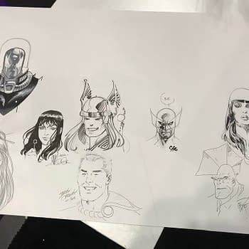 Scott Dunbiers Sketch Jam Piece For San Diego 2020 With Bill Sienkiewicz Frank Cho Matt Wagner Jerry Ordway Walter Simonson Billy Tucci and Erik Larsen&#8230 So Far