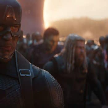 Marvel Studios' AVENGERS: ENDGAME..L to R: Captain America (Chris Evans) in b/g Hulk (Mark Ruffalo, Thor (Chris Hemsworth), Iron Man (Robert Downey Jr.) and Black Panther (Chadwick Boseman)..Photo: Film Frame..©Marvel Studios 2019