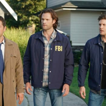 """Supernatural -- """"Raising Hell"""" -- Image Number: SN1503A_0285b.jpg -- Pictured (L-R): Misha Collins as Castiel, Jared Padalecki as Sam and Jensen Ackles as Dean -- Photo: Colin Bentley/The CW -- © 2019 The CW Network, LLC. All Rights Reserved."""