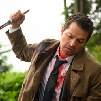 """Supernatural -- """"Golden Time"""" -- Image Number: SN1506a_0230b.jpg -- Pictured: Misha Collins as Castiel -- Photo: Diyah Pera/The CW -- © 2019 The CW Network, LLC. All Rights Reserved."""