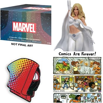 Funko Marvel, Emma Frost PVC, Mondo Spider-Verse Pin and Jeffrey Brown Shirt Merchandise For Free Comic Book Day 2020