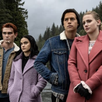 """Riverdale -- """"Chapter Sixty-Six: Tangerine"""" -- Image Number: RVD409b_0161.jpg -- Pictured (L-R): KJ Apa as Archie, Camila Mendes as Veronica, Cole Sprouse as Jughead and Lili Reinhart as Betty -- Photo: Jack Rowand/The CW-- © 2019 The CW Network, LLC All Rights Reserved."""