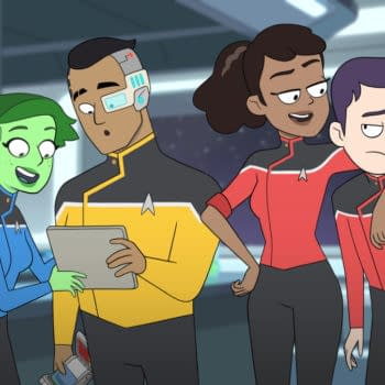 Pictured: No'l Wells as Ensign Tendi; Eugene Cordero as Ensign Rutherford; Tawny Newsome as Ensign Mariner; Jack Quaid as Ensign Boimler of the CBS All Access series STAR TREK: LOWER DECKS. ©2019 CBS Interactive, Inc. All Rights Reserved.