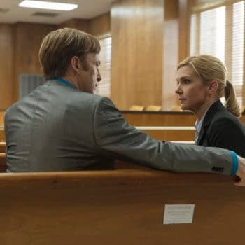 Bob Odenkirk as Jimmy McGill, Rhea Seehorn as Kim Wexler - Better Call Saul _ Season 5, Episode 4 - Photo Credit: Greg Lewis/AMC/Sony Pictures Television