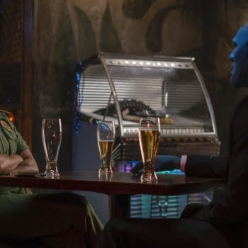 Angela and Dr. Manhattan meet again and for the first time on Watchmen (Image: HBO).