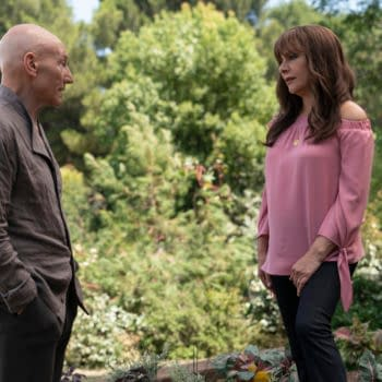 """""""Nepenthe"""" -- Episode #107 -- Pictured (l-r): Sir Patrick Stewart as Jean-Luc Picard; Marina Sirtis as Deanna Troi; of the the CBS All Access series STAR TREK: PICARD. Photo Cr: Aaron Epstein/CBS ©2019 CBS Interactive, Inc. All Rights Reserved."""