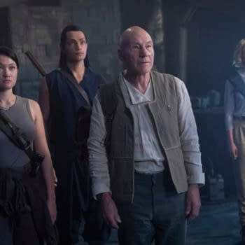 """""""Et in Arcadia Ego, Part 1"""" -- Episode #109 -- Pictured (l-r): Isa Briones as Soji; Evan Evagora as Elnor; Sir Patrick Stewart as Jean-Luc Picard; Alison Pill as Agnes Jurati; of the the CBS All Access series STAR TREK: PICARD. Photo Cr: Aaron Epstein/CBS ©2019 CBS Interactive, Inc. All Rights Reserved."""