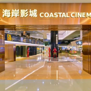 APRIL 09, 2019: Coastal Cinema sign over entrance to movie theater at Coastal City shopping mall in Shenzhen.