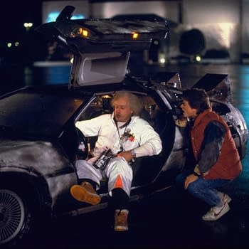 """Back to the Future"": Stars Christopher Lloyd, Michael J. Fox Reunite for Charity"