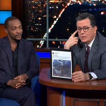 The Falcon and the Winter Soldier Shoot Almost Done Anthony Mackie: The Shield Is in Good Hands Stephen Colbert Reminds Him Who New Falcon REALLY Is [VIDEO]
